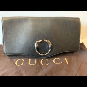 Gucci Nubuck Ribot Horse Head Long Leather Clutch